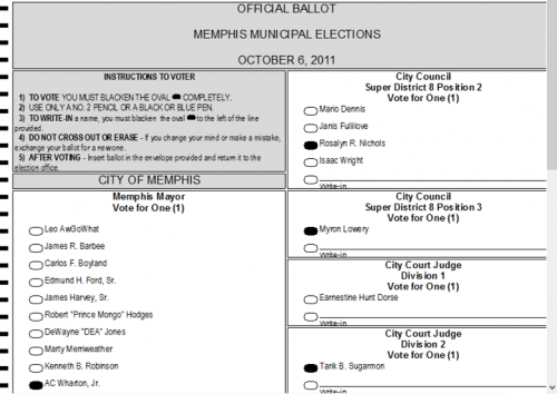 Diebold ballot image